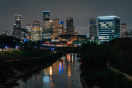 The Buffalo Bayou and Houston skyline at night, in Houston, Texas