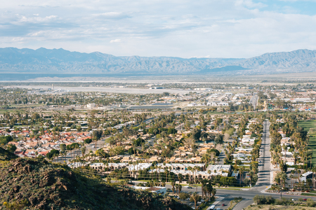 View of Palm Springs from the Araby Hiking Trail, in Palm Springs, California