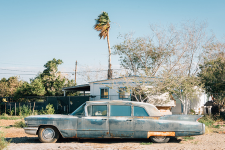 Old abandoned car in Bombay Beach, on the Salton Sea, in California