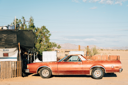 An old abandoned car in Slab City, California Stock Photo