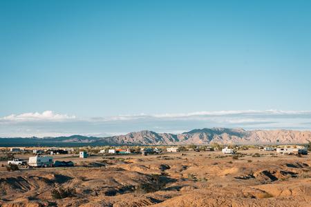 View of the desert landscape in Slab City, California Stock Photo