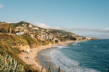 View of the beach and hills at Treasure Island Park, in Laguna Beach, Orange County, California