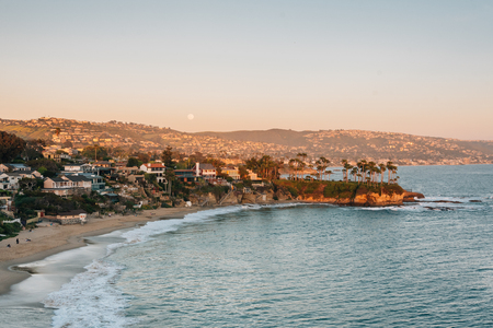 Sunset view of Crescent Bay in Laguna Beach, Orange County, California