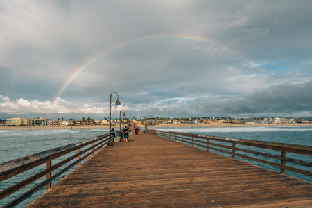 Rainbow over the pier in Imperial Beach, San Diego, California