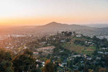 Sunset view from Mount Helix in La Mesa, near San Diego, California