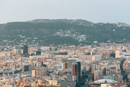 View of buildings and mountains in Barcelona, Spain