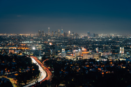 View of Hollywood and the Downtown skyline at night from the Hollywood Bowl Overlook on Mulholland Drive, in Los Angeles, California Editorial