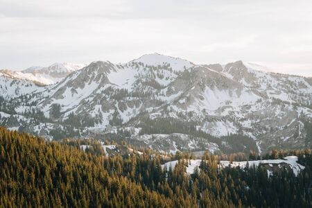 View of snowy mountains in the Wasatch Range of the Rocky Mountains, from Guardman's Pass, near Park City, Utah