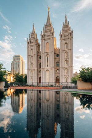 Reflections of the Salt Lake LDS Temple, at Temple Square, in Salt Lake City, Utah Stock Photo