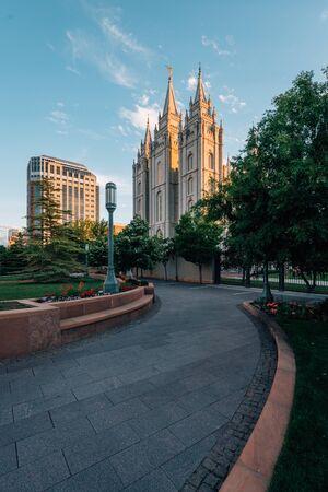 Walkway and the Salt Lake LDS Temple, at Temple Square, in Salt Lake City, Utah