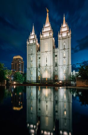 Reflections of the Salt Lake LDS Temple at night, in Temple Square, in Salt Lake City, Utah