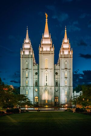 The Salt Lake LDS Temple at night, at Temple Square, in Salt Lake City, Utah Stock Photo