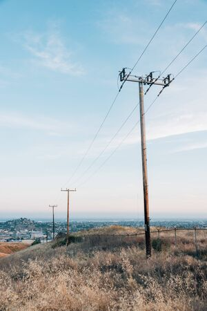 Power lines at Ascot Hills Park, in Los Angeles, California