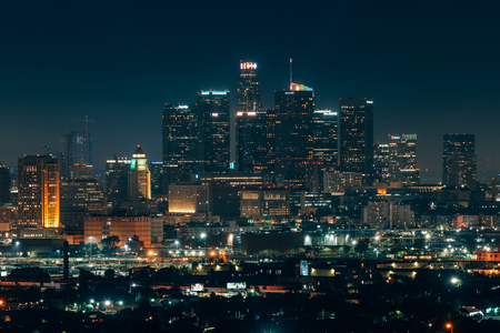 The downtown Los Angeles skyline at night from Ascot Hills Park