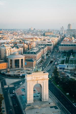 View of the Arco de la Victoria from the Faro de Moncloa, in Madrid, Spain