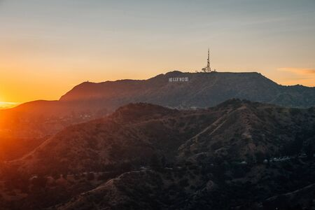 View of the Hollywood Sign at sunset, from Griffith Observatory, Los Angeles, California
