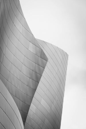 Black & white architectural details of the Walt Disney Concert Hall in downtown Los Angeles, California Stock Photo