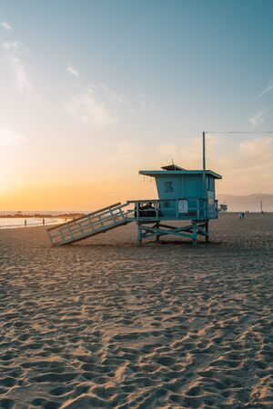 Lifeguard stand on the beach at sunset, in Venice Beach, California