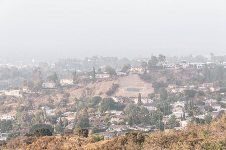 Hazy view from Mulholland Drive in Los Angeles, California