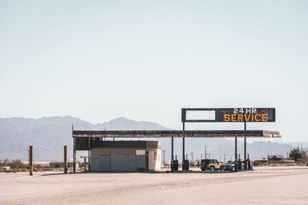Abandoned gas station in Desert Center, California