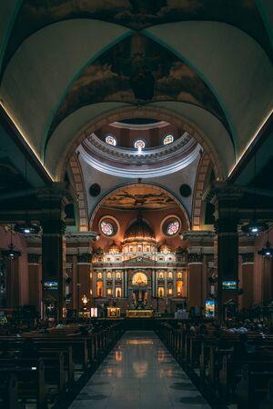 The interior of Minor Basilica of St. Lorenzo Ruiz, in Binondo, Manila, The Philippines