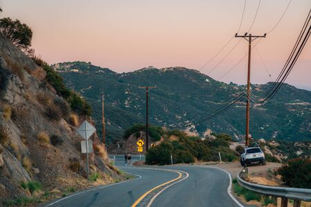 Piuma Road at sunset, in Malibu, California
