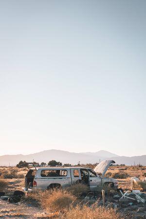 Abandoned pickup truck in Salton City, California