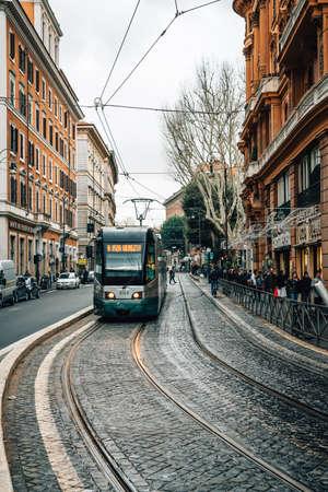 Tram on Via Arenula, in Rome, Italy.