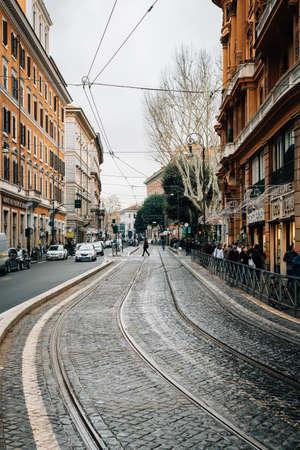 Tram tracks on Via Arenula, in Rome, Italy.