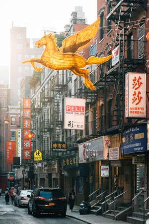 Pell Street in Chinatown, Manhattan, New York City 新闻类图片