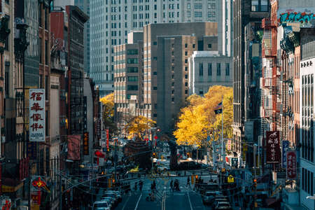 View of autumn color in Chinatown, from the Manhattan Bridge, in New York City