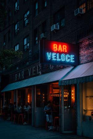 Bar Veloce neon sign, in East Village, Manhattan, New York City