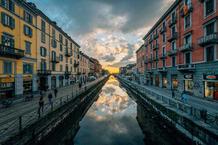 The Naviglio Grande canal at sunset in Milan, Italy