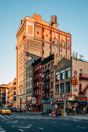The Forward Building and East Broadway, in the Lower East Side of Manhattan, New York City