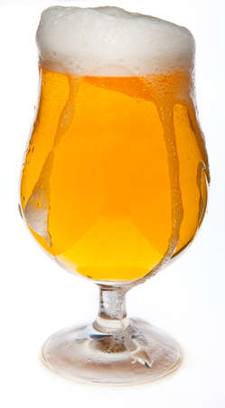 A cold beer in the glass