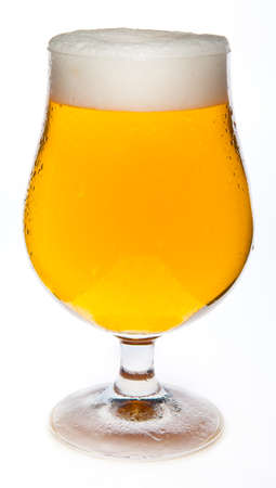 beer glass: A cold beer in the glass