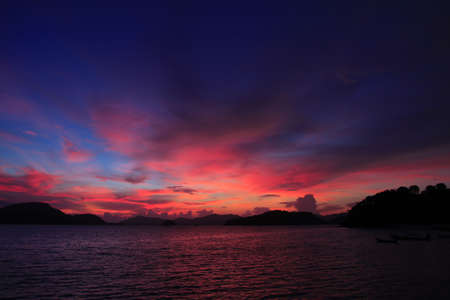 horrizon: sunset at cape panwa, phuket south of thailand Stock Photo
