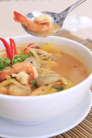 yum: Tom yam Goong, spicy thai soup with shrimp Stock Photo