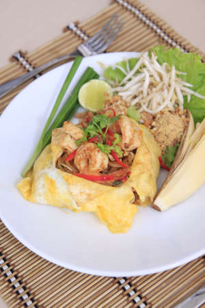 Pad Thai,Asian noodle fried with shrimp and egg photo
