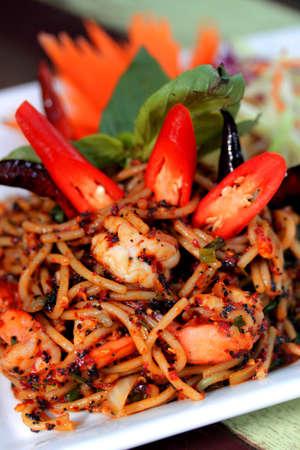 thai style: spaghetti Thai style fried with shrimp