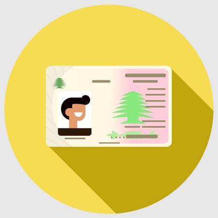 Lebanese ID flat icon with long shadow
