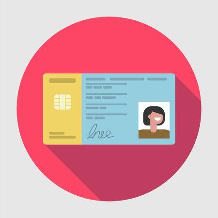 Spanish ID DNI flat icon with long shadow Illustration