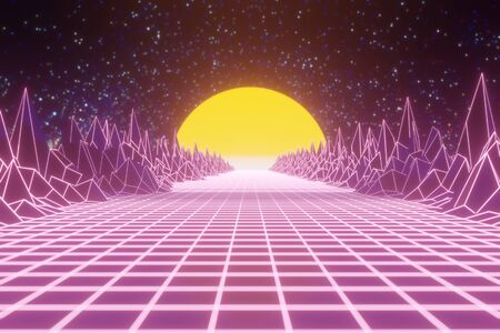 Retro 80s videogame tunnel background with mountains and sun 8bit depth of field