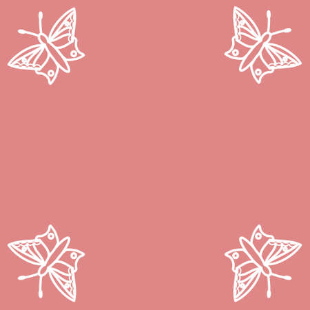 Four butterflies on pink background Stock Vector - 4988606