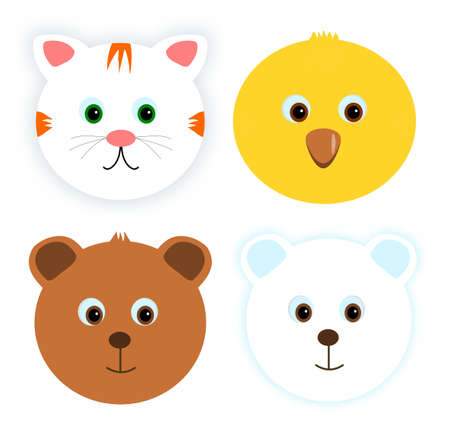 animal baby: Four animal baby faces Illustration