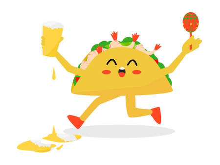 Flat design cartoon character taco holding beer happy moments, taco and beer promote restaurant and bar, happy prawns taco Mexican food, cute prawn taco cheerful with beer and dance holding maracas Çizim