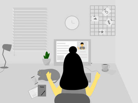 Flat design women sit on the desk working at home, meeting Video call online, learning online on computer screen, home office interior design, work from home concept, self-isolate pandemic stay home Çizim