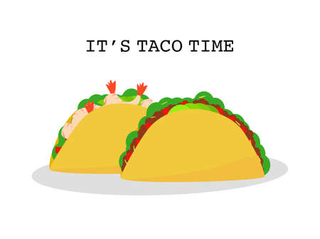 Flat design set prawns and beef taco tortillas Mexican food, Mexican spicy hot food cuisine yummy prawns and beef tacos, vector illustration two Tacos isolate in white background, text it's taco time