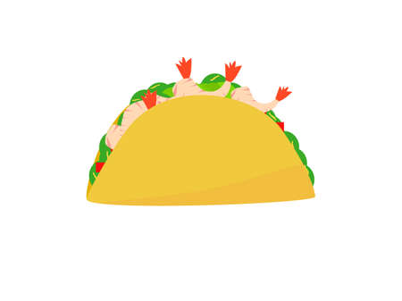 Flat design prawns taco tortillas Mexican food, Mexican food cuisine yummy prawns taco, vector illustration taco in white background