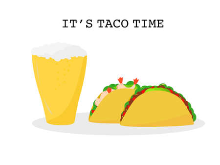 Flat design set prawns, beef taco tortillas and Beer Mexican food, Mexican food drink cuisine yummy prawns and beef tacos, vector illustration two Tacos isolated white background, text it's taco time Çizim